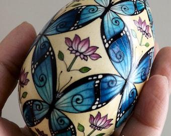Made To Order Blue Morpho Butterflies Pysanka Pysanky Batik Ukrainian Style Easter Egg Art EBSQ Plus