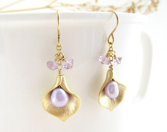 Calla Lilly Earrings - gold flower with light purple pearl and amethyst, February birthstone bridesmaid jewelry