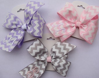 3 Chevron Hair Bows Monogrammed Custom Boutique Personalized  Initial letter Gift