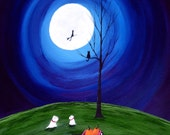 Westie Terrier Dog Halloween Large Folk Art Print Todd Young painting ANOTHER SPOOKY NIGHT