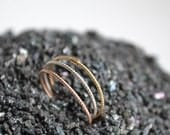 14k Solid Gold and Silver stacking rings, Three Stacking Ring Set,