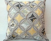30% Off Decorative Pillow Cover Cathedral Window Quilt Modern Pillow Gray Yellow Pillow Gray Gold Pillow 18 Inch