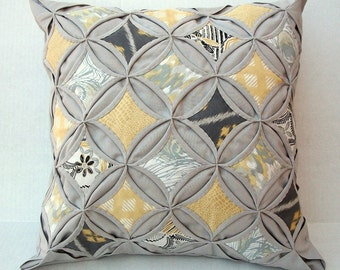 35% Off Decorative Pillow Cover Cathedral Window Quilt Modern Pillow Gray Yellow Pillow Gray Gold Pillow 18 Inch