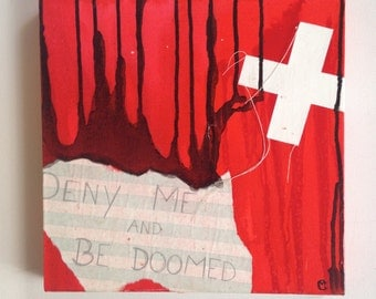 fate, original red abstract painting with black drips, white collage, text and hand stitching, modern art, deny me and be doomed text