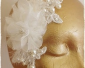 Ivory Organza Corsage and Alechon Lace Bridal Headpiece