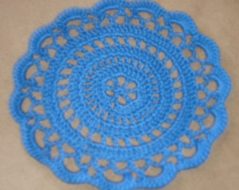 "New Handmade Crocheted ""Elegance"" Coaster/Doily in Blue Hawaii"