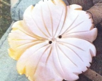 A Large Vintage Carved Mother of Pearl MOP Cosmo or Tropical Flower Button Stunning 1.25""