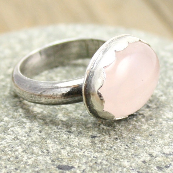 Rose Quartz Cocktail Ring in Sterling and Fine Silver