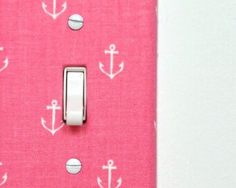 Light Switch Plate Cover - pink with white anchors - gifts under 25