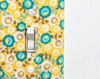 Light Switch Plate Cover, wall decor - yellow and blue flowers