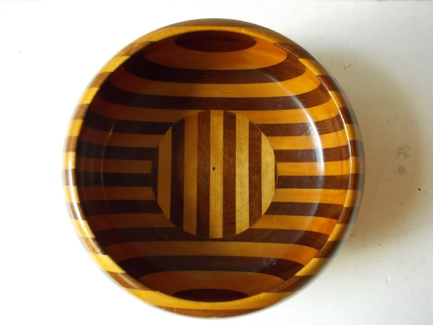 Striped Vintage Wood Bowl : Lathe Turned by NorthernScoutVintage