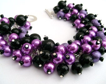 Purple and Black Bridesmaid Bracelet, Pearl Beaded Jewelry, Cluster Bracelet, Orchid, Pearl Bracelet, Bridesmaid Gift - Jewelry By Kim Smith