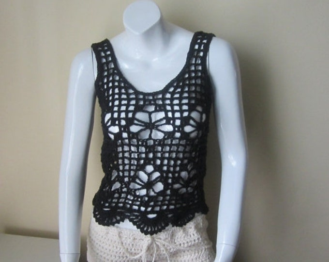 Black Crochet tank top, tank top, festival top, gypsy, summer top, hippie, boho top, FESTIVAL CLOTHING