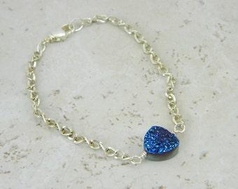 Druzy Bracelet- Blue Druzy Bracelet-Gemstone Bracelet- Galaxy