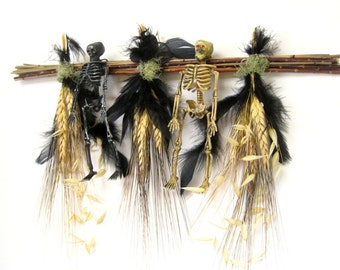 Black gold wheat with skeletons Halloween dried sampler decoration