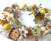 Vintage Style Charm Bracelet Honeysuckle Yellow with Flowers and Beads