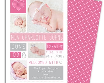 Photo Birth Announcement/Girl Baby Announcement/Personalized Photo Birth Announcement/Baby Thank you card/Print yourself/*free background*
