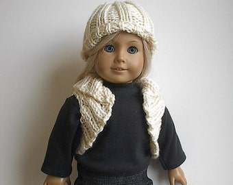 """18 Inch Doll Clothes - Handknit Bolero Shrug Vest and Matching Hat in Cream Rib Stitch Handmade to Fit the American Girl and Other 18"""" Dolls"""