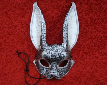 READY TO SHIP Black and Silver Venetian Rabbit Mask...  leather mask rabbit costume masquerade burning man mardi gras mask