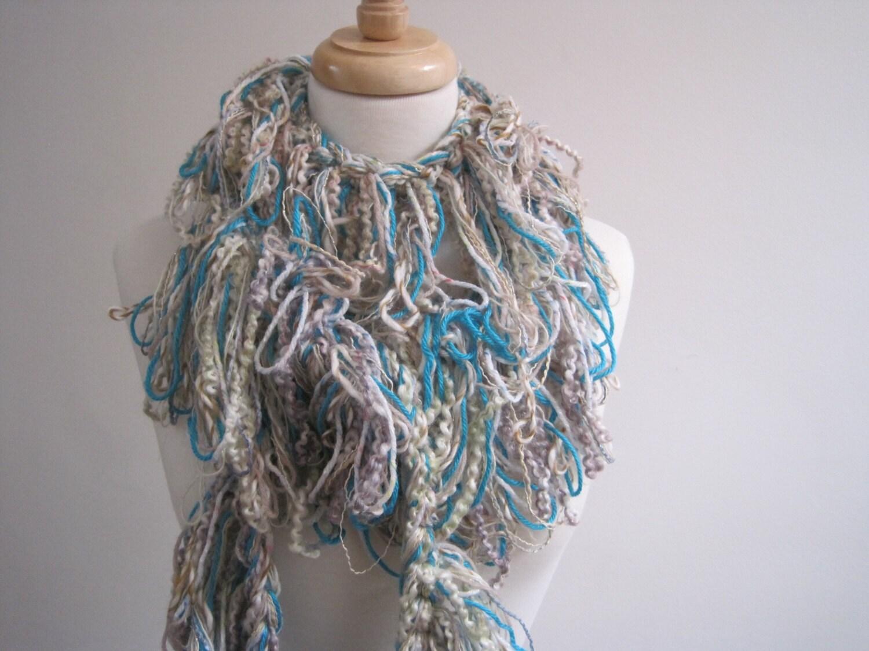 turquoise boa pastel boa crocheted scarf boa mixed