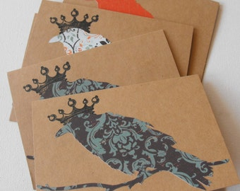 Raven Cards Halloween Crow Set of Six Hand crafted Stamped Blank inside Fall Autumn Kraft Paper