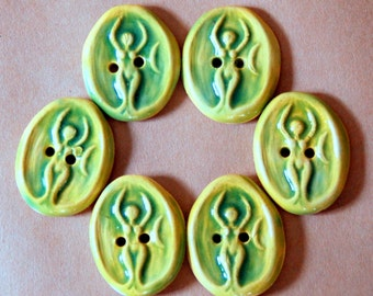 6 Ceramic Buttons - Goddess Buttons in Light and Uplifting Spring Green Stoneware