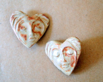 Rustic Rust Face Buttons in a Heart - Handmade Ceramic Shank Buttons