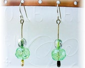 Green Glass Earrings Sparkling Dangle Earrings Green Drop Earrings - E2012-11