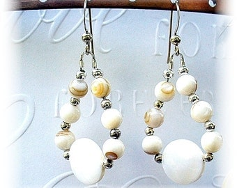 Chandelier Earrings, White Mother of Pearl,  Summer Earrings, Jewelry for Beach Wedding, Chakras Jewelry ,-  E2012-05