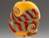 Yellow Red and Turquoise Lampwork Glass Focal Bead