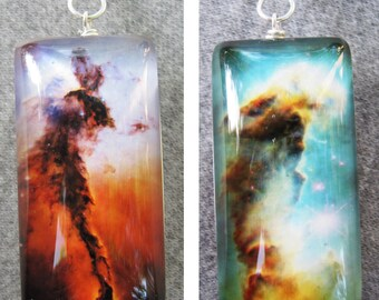 Double Sided Fairy and Pillar of Creation of the Eagle Nebula  Necklace, Hand-Made, Sterling Silver