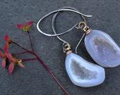 Glowing Grey Baby Geodes on Sterling Silver Handmade Earwires