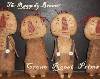 Raggedy Annie Andy Doll 144e Primitive Crows Roost Prims epattern  immediate download