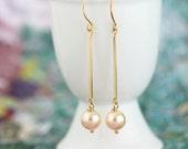 Pale Gold Pearl Dangle Earrings - Gold Earrings, Swarovski Pearl Earrings, Long Earrings, Elegant and Sophisticated, Minimalist