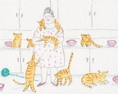 Orange Cats , Pink Dishes and Polka Dots