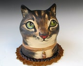 Ceramic Cat Sculpture - Tabby Cat