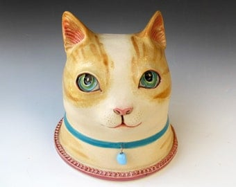 Ceramic Cat Sculpture - Tabby Cat