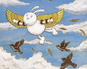 "Icarus Art Print Flying Bunny 11""x14"""