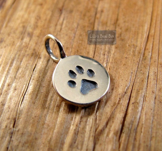 Sterling Silver Paw Print Charm Pawprint Pendant Disk, Little Pawprint Charm for Making Jewelry (CH 682)