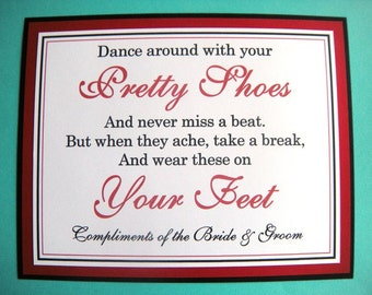 8x10 Flat Wedding Dancing Shoes Flip Flop Basket Reception Dance Floor Sign in Black and Red - READY TO SHIP