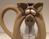 Happy Piggly Wiggly  Dark Pig Mug ... Oink .....                        e520