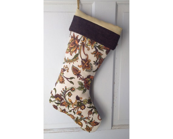 Handmade Large Gold Jacobean Christmas Stocking - Modern Rustic Heirloom Holiday Decor