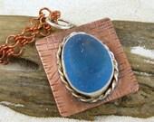 Sea Glass Pendant Necklace Turquoise Cornflower Blue Sea Glass Pendant N-298