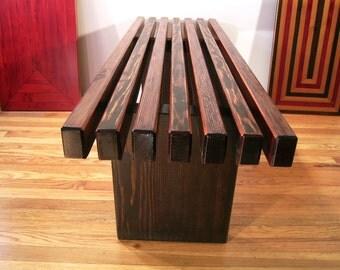 Reclaimed Wood Humanitat Slat Bench. Modern Eco Design.