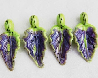 4 Lime Green Purple Rose Leaves,  handmade glass bead leaves, lampwork beads by Beadfairy Lampwork, SRA