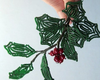 French beaded holly stem, bead and wire sculpture, winter greenery, holiday decor