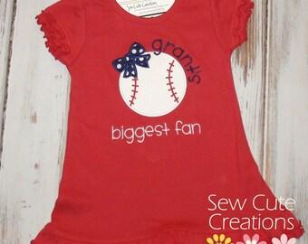 Baseball Biggest Fan Dress, Girls Baseball Dress, Little Sister dress, Little Leage dress, sew cute creations