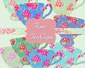 INSTANT Download Shabby Rose Teacups Antique Ephemera Clipart Scrapbooking Digital Chic Graphics Buy 1 Get 1 Free