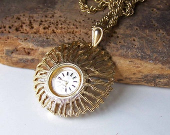 Vintage Watch, Watch Necklace, Vintage Caravelle Necklace, Carvelle Watch, Vintage Time Piece, Etsy, Etsy Jewelry, Etsy Vintage