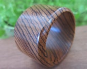 Exotic African Zebrawood Wood Bangle - Size Small - Striped Bracelet - Wooden Tribal Boho Jewelry- Small Wrist - Brown - Golden Earthy Cuff
